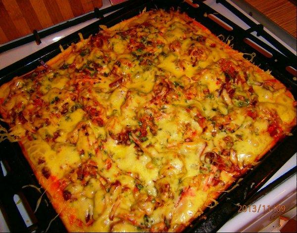 Пицца с шампиньонами в духовке рецепт с пошагово в