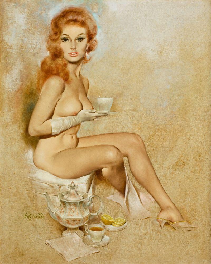 Flash female nude erotic art art print by femmenue