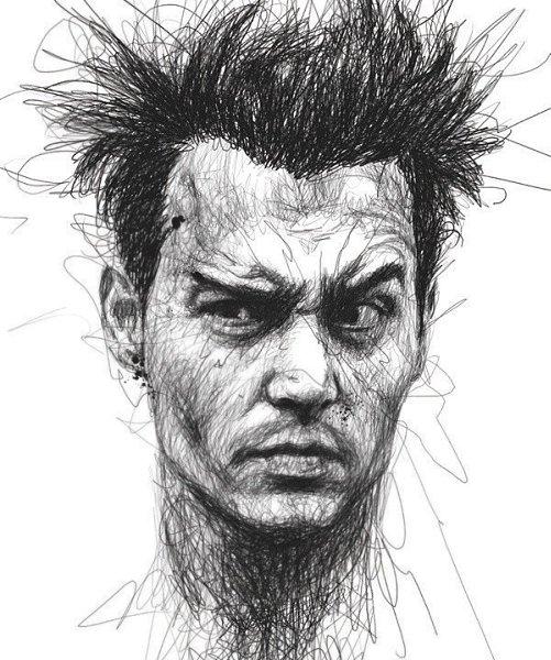 Портреты художника Винса Лоу, который создает свои работы не отрывая руки от листа бумаги - 8
