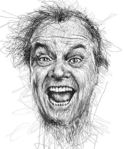 Портреты художника Винса Лоу, который создает свои работы не отрывая руки от листа бумаги - 7