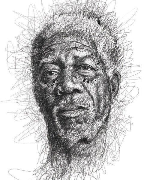 Портреты художника Винса Лоу, который создает свои работы не отрывая руки от листа бумаги - 6
