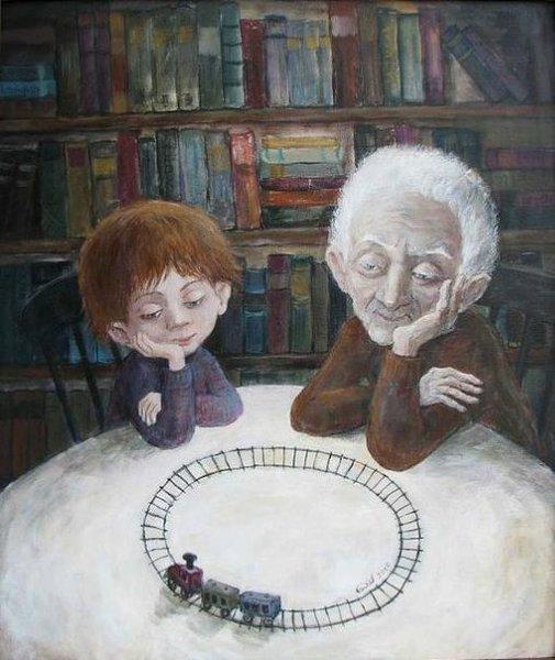 ТАК любят только бабушки и дедушки... Художник – Нино Чакветадзе.