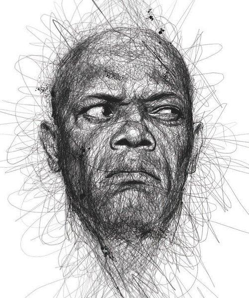 Портреты художника Винса Лоу, который создает свои работы не отрывая руки от листа бумаги - 9
