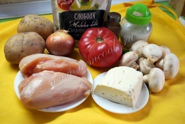 Куриная запеканка по-французски.Ингредиенты:Куриное филе - 400 грамм;Картофель - 2 шт;Лук - 1 ... - 2