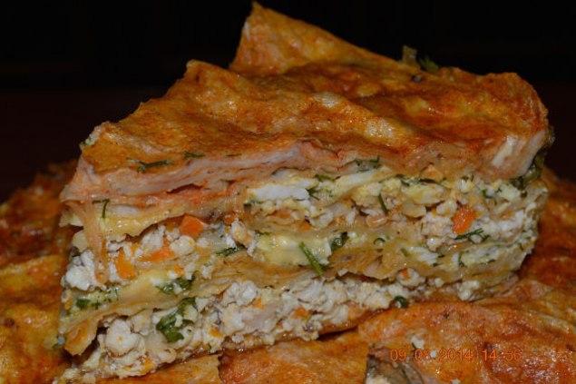 Пирог из лаваша с куриной грудкой. Ингредиенты: 3 — 4 листа лаваша ( можно 3 шт.), 1 куриная грудка ...