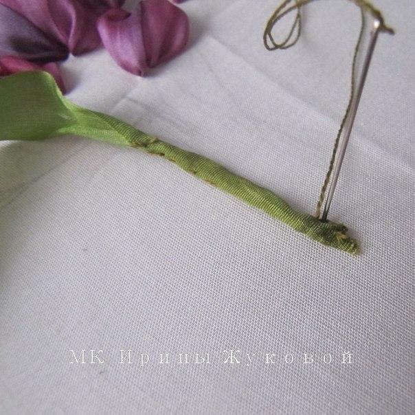 Тюльпаны. Вышивка лентами. - 8