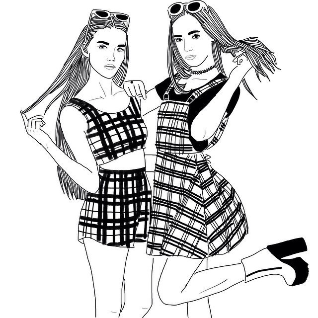 Картинка подружки нарисованные черно белые