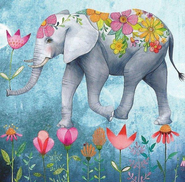 Открытка со слоном доброе утро, днем рождения
